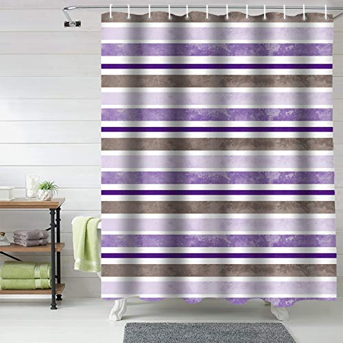 """72x72inch Bathroom Shower Curtains, Ombre Lavender Purple Stripe, Fabric Bathroom Curtains Window Machine Washable&Water Proof, Watercolor Luxury Unique Target Shower Curtains Set With Hooks 66""""W"""