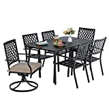 MF Outdoor Patio Dining Set 7 Pieces, 1 x Rectangular Table, 4 Backyard Garden Striped Chairs, 2 x Swivel Chairs for Lawn Garden Furniture Set Metal Frame Black