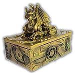 "WorldWideSlides Mythical Steampunk Dragon Trinket, Jewelry Box - 5"" - Fabulous Detail 7"