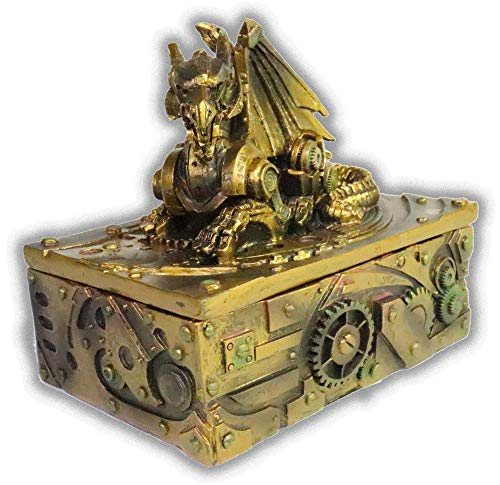 "WorldWideSlides Mythical Steampunk Dragon Trinket, Jewelry Box - 5"" - Fabulous Detail 4"