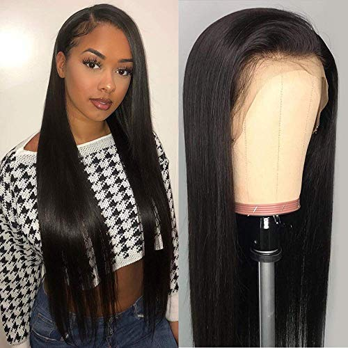 Amella Hair 4x4 Human Hair Wigs For Black Women Lace Front Wigs with Baby Hair Brazilian Straight Hair Wigs Free Part with Natural Hairline (20 Inch, 150% Density)
