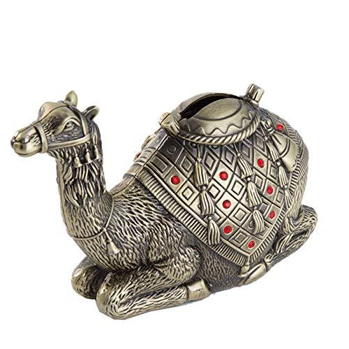 MYYINGBIN Retro Metal Dorado Desierto Camel Hucha Caja De Ahorro De Monedas Juguete Artesanal Vintage para Niños Adornos De Exhibición De Habitación