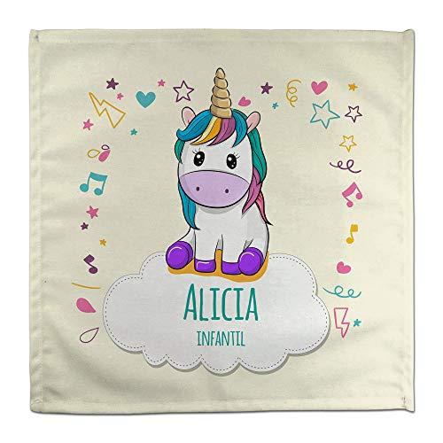 Servilleta Unicornio Personalizada Vuelta al Cole con Nombre y Curso. Algodón. Varios Diseños
