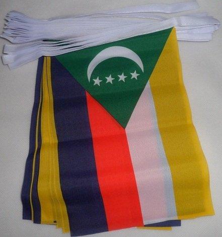 AZ FLAG Guirlande 6 mètres 20 Drapeaux Comores 21x15 cm - Drapeau comorien 15 x 21 cm