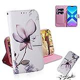Dmtrab Phone Case for Huawei Honor 8x portefeuille, dessin de couleur de fleurs de magnolia, étui...