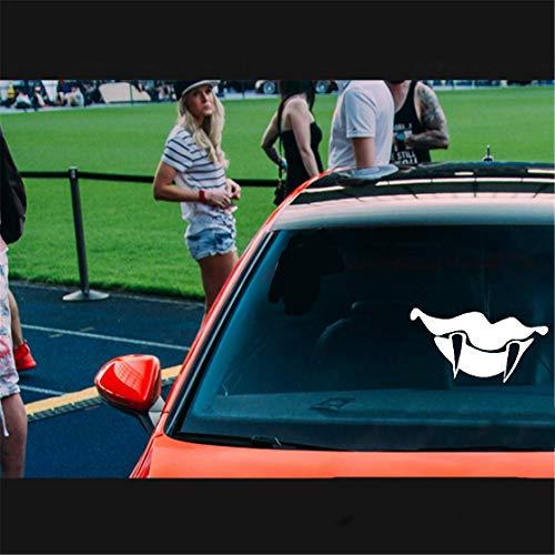 Auto Aufkleber Katze 16.5X8.8Cm Vampirzähne Zähne Mund Heckscheibe Aufkleber Auto Aufkleber für Aufkleber Auto Laptop Fenster