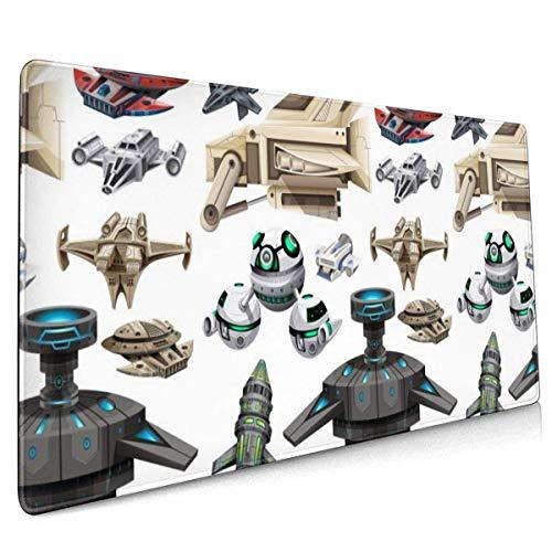 Cartoon Spaceship Large Gaming Mauspad, rutschfeste Gummimatte Mausmatte