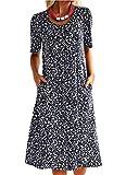 Vera Vestido de verano para mujer, estilo bohemio, cuello redondo, para la playa. azul L