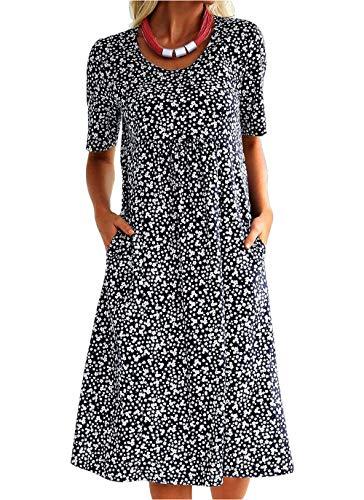 Vera Damen Sommer Freizeit Blumenmuster Boho Rundhalsausschnitt Strand midi Kleid (L, Blau)
