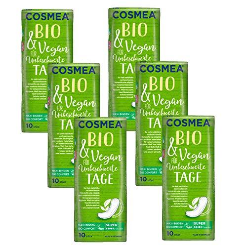 Cosmea Bio Maxi-Binden,Super ohne Duft, Vorteilspack (6 x 10 Stk). Hygiene-Einlagen aus Bio-Baumwolle. Damen-Hygiene im Einklang mit der Natur
