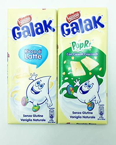 Galak PopRi Tavoletta di Cioccolato Bianco, 90g+ Galak Tavoletta di Cioccolato Bianco, 100g