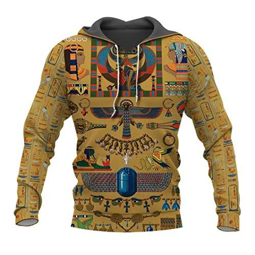 UJDKCF Geheimnisvolle Retro Alten Ägypten Pharao Totem 3D Hoodies Sweatshirt/Zip Jacke Beige 4XL