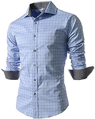 Mens Casual Long Sleeve Plaid Button Down Dress Shirts