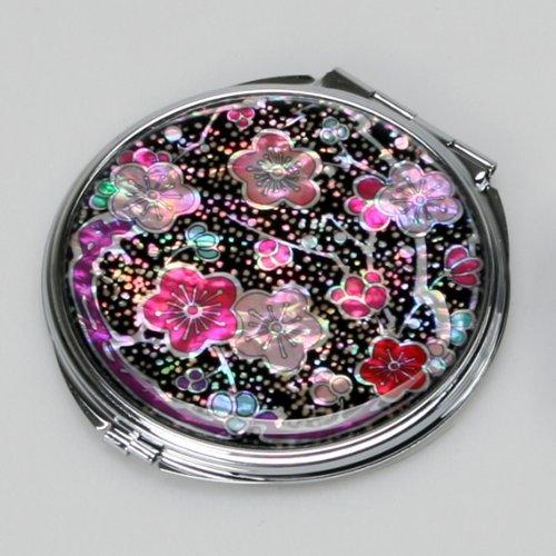 Antique Alive Specchi Miroir compact en nacre pour maquillage, avec motif fleurs Maehwa, rose et rouges
