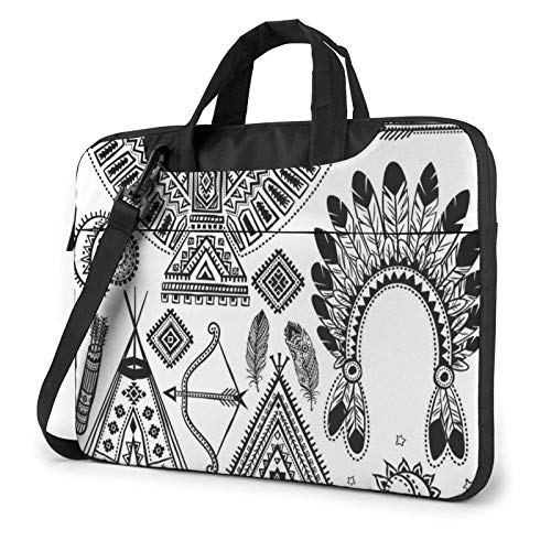 Feather Head Band Teepee Tent Bow Arrow Printed Laptop Shoulder Bag,Laptop Case Handbag Business Messenger Bag Briefcase