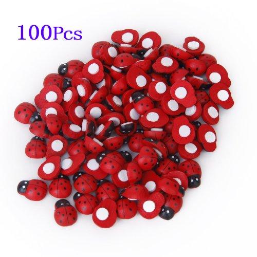 adesivi spugna - SODIAL(R) 100 pezzi piccoli coleotteri legno con spugne Sticker Coccinella Adesivi