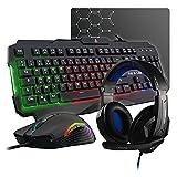 The G-LAB Combo ARGON E – Juego de teclado para juegos 4 en 1 AZERTY retroiluminado, ratón gamer 3200 DPI, micrófono para juegos, alfombrilla de ratón antideslizante [Francés]