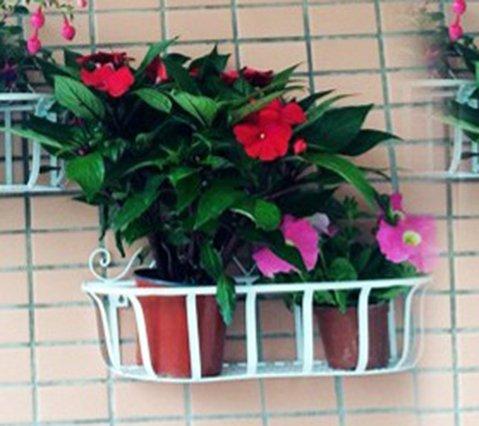 QFF Fer fleur cadre mur suspendu fleur rack décoration mur fleur panier suspendu panier balcon fleur cadre fleur pots suspendu bleu vert radis plante verte ( Couleur : Blanc , taille : 50*18*27cm )
