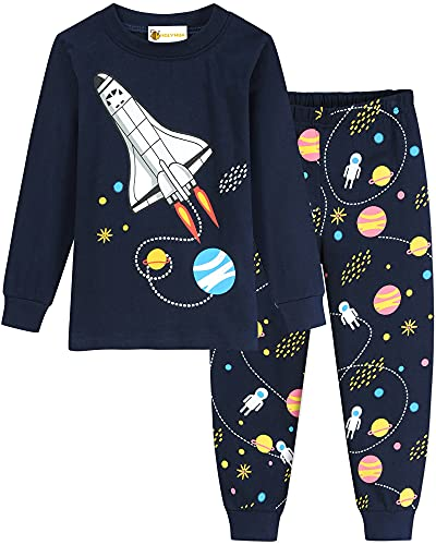 MOLYHUA Pijama de manga larga para niños con cohete, pijama de dos piezas para niñas 92, 98, 104, 110, 116, 122, 01 cohete (azul oscuro), 34 W/34 L