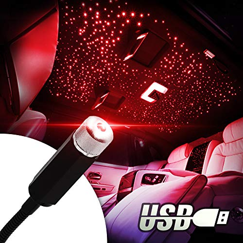 Car Roof Star Light Project, Jestar Auto Roof Star Projector Lights USB Flexible Ceiling Light Interior Night Light Romantic Galaxy Atmosphere Lights Portable Night Lamp Decorations for Car, Ceiling,