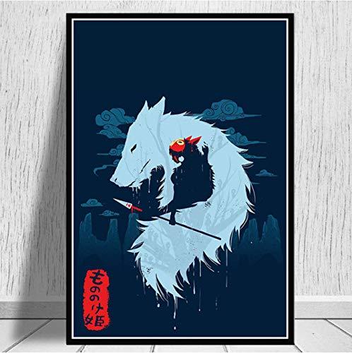 yhnjikl Peinture Art Hot Princesse Mononoke Film Japon Anime Affiche Et Gravures Mur Art Toile Mur Photos pour Le Salon Décor À La Maison 40X60 Cm sans Cadre
