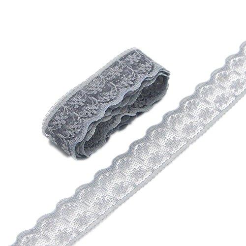 Rollo de cinta de encaje floral de 50 m de ancho de 2,2 cm de ancho para hacer joyas de bricolaje, manualidades, ropa, accesorios de regalo (gris)