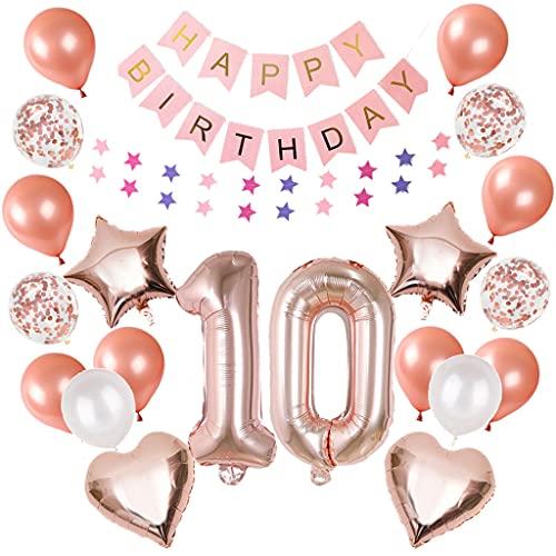 10. Verjaardagsdecoratie, roségoud, ballonnen, 10 jaar, verjaardag, meisjes, jongens, Happy Birthday-slinger…