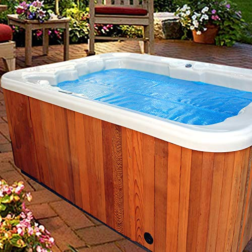 Thermo-Float 16-mil 8ft x 8ft Hot Tub Bubble Cover Floating Spa Blanket - trimmable Heavy-Duty Insulating Solar Heating