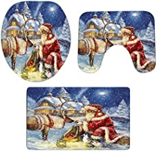 Korean World Christmas Toilet Seat Cover Cushion Toilet Kit 3 Pcs Bathroom Non-Slip Pedestal Rug + Lid Toilet Cover + Bath Mat Set Xmas Gift Must Have Gifts The Favourite DVD