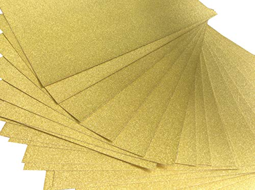 Premium 20 Sheets Glitter Board Sparkling Assorted Colors Cardstock Reflective, Shiny Poster Board 8.5 x 11 inches 250GSM Use for Scrapbooking Paper Cutting Bending Or Shaping (Gold)