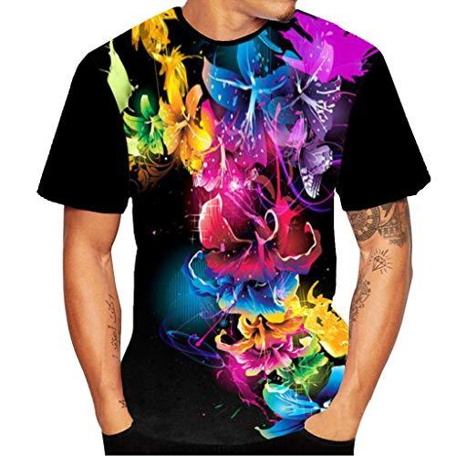 Xmiral Herren Top Bluse 3D Flood Kurzarm-T-Shirt Gedruckt Baumwolle O-Ansatz Übergröße Pullover(XS,G)