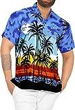 LA LEELA | Funky Camisa Hawaiana | Señores | XS-7XL | Manga Corta | Bolsillo Delantero | impresión De Hawaii | Playa Playa Fiestas, Verano y Vacaciones Azul_W140 3XL