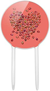 GRAPHICS & MORE Acrylic Red Heart Lady Bugs Love Valentine Cake Topper Party Decoration for Wedding Anniversary Birthday Graduation