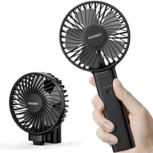 Mini USB Ventilator mit 3350mAh Aufladbaren Batterie, Faltbarer Handventilator mit LED Licht und Aromatherapie-Box, 3 Einstellbare Geschwindigkeiten (Schwarz Grau)
