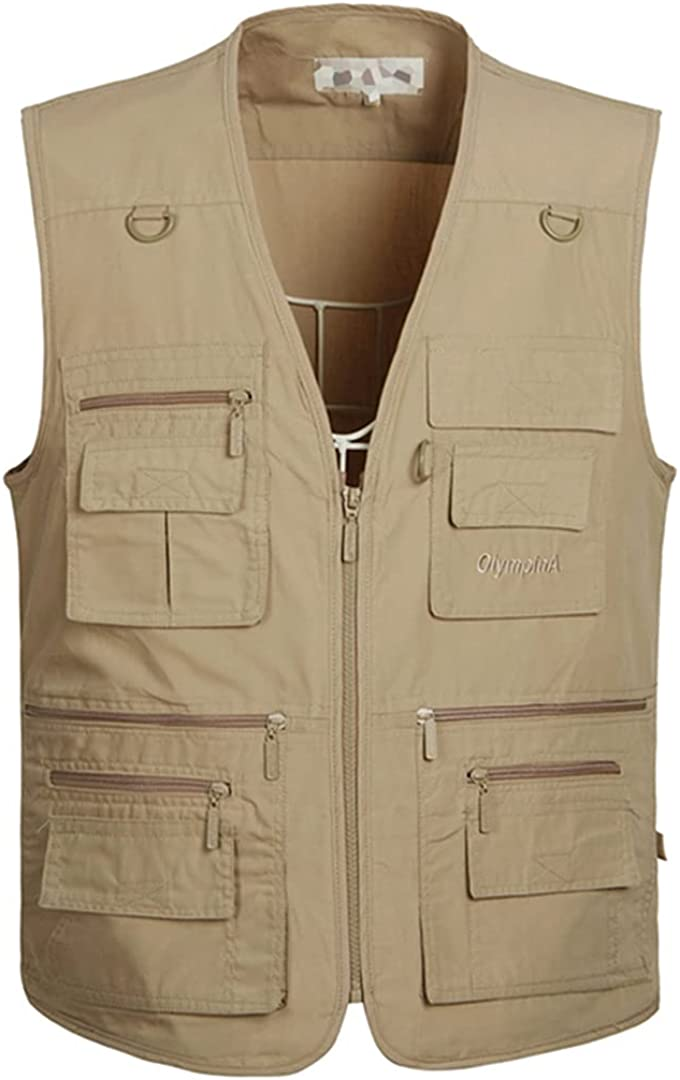 DFLYHLH Men's Multi-Pockets Plus Size Lowest price challenge Outdoor B Minneapolis Mall Waistcoat Casual