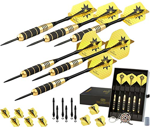 CC-Exquisite Professional Darts Set - Customizable Configuration 6 Steel Tip Darts 18g/22g with 12...