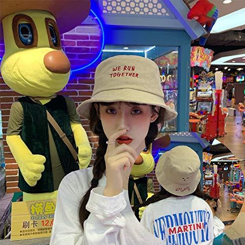 Sombrero Femenino pequeño Sombrero for el Sol Fresco Encantador Carta de Cubo Sombreros Bordados de Verano de Corea Marea niño de Cara Redonda Salvaje Japonesa ACDES