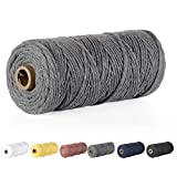 Macrame Cord, POZEAN 3mm x 109 Yards (About 100m) Cotton Rope, 100% Natural Cotton Macrame Rope for Wall Hanging, Plant Hangers, DIY Crafts Knitting, Christmas Wedding Decorative Projects(Grey)
