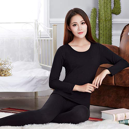 CARDMOE CARDMOE Autumn Winter Woman Thermo-Unterwäsche Set Lady Thermal Inner Wear Sleepwear Size M (Black)