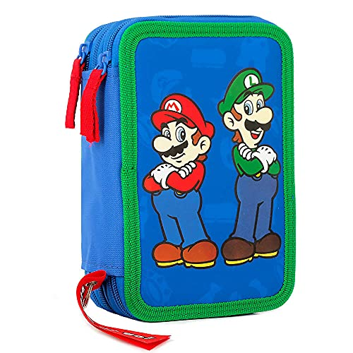 astuccio scuola elementare super mario CARTOON WORLD Astuccio Scuola 3 Zip con 45 Pezzi - Super Mario Bros e Luigi a