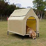 AmazonBasics Elevated Portable Pet House, Medium (43 x 35 x 30 Inches), Khaki
