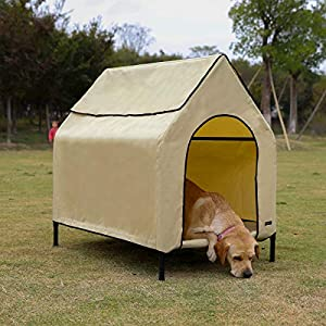 AmazonBasics - Caseta para mascotas, elevada, portátil, mediana, caqui