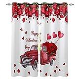 Cortinas opacas para habitación con ojales en la parte superior, diseño de rosas rojas con corazón con aislamiento térmico para puertas de cristal, 2 paneles, 2012 cm de ancho x 150 cm de alto.