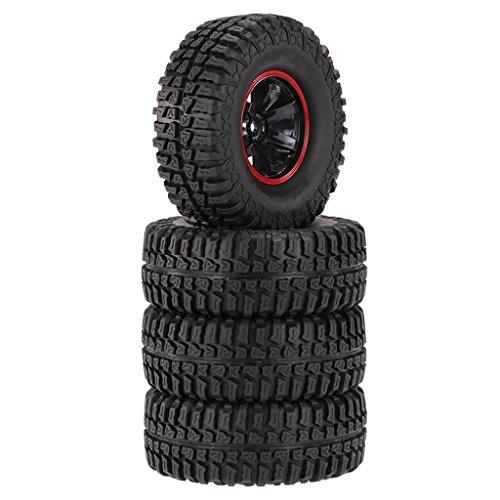 MagiDeal 4pcs Inflables Ruedas Neumáticos para RC 01:10 Escalada Piezas de Automóviles Rastreador 1.9 Pulgadas - Rojo