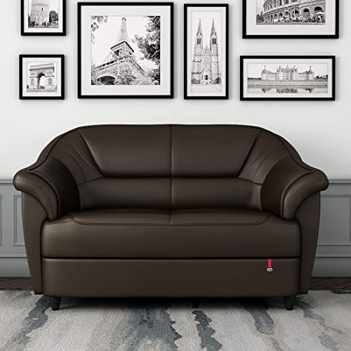 Durian Leatherette Berry Two Seater Sofa Brown