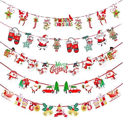 Yisscen Stendardo con ghirlanda natalizia, Catena di stendardi natalizi, festoni di decorazioni natalizie, festoni per la festa di capodanno di Natale Decorazione fai da te (5 pezzi)