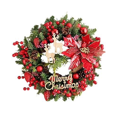 XIN CHANG LWH Guirnalda De Navidad Roja, Puerta De Entrada De La Puerta De Entrada Decoración De Navidad Guirnalda Bayas De Pino Conos De Pino Agujas De Pino Y Hojas De Eucalipto 45 Cm