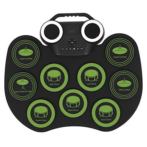 Juego de tambores electrónicos, platillos de paso con control de pedal, batería electrónica con altavoz estéreo integrado para la práctica para teléfono o tableta para niño