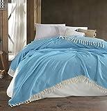 Belle Living Hitit Tagesdecke Überwurf Decke - Wohndecke hochwertig - perfekt für Bett & Sofa, 100prozent Baumwolle - handgefertigte Fransen, 200x250cm (Türkis)