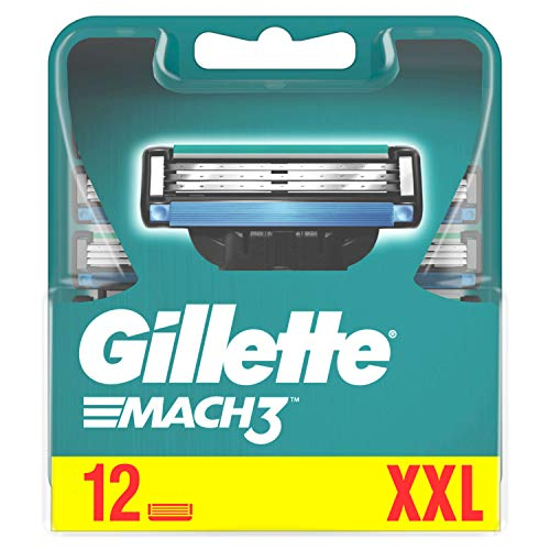 Gillette Mach3 Rasierklingen für Männer, 12 Ersatzklingen, mit Klingen stärker als Stahl (Verpackung kann variieren)